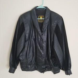 Vintage Pierre Balmain Black Leather Jacket L